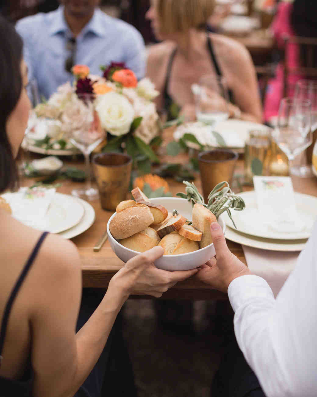 california indian jewish wedding dinner guests sharing bread