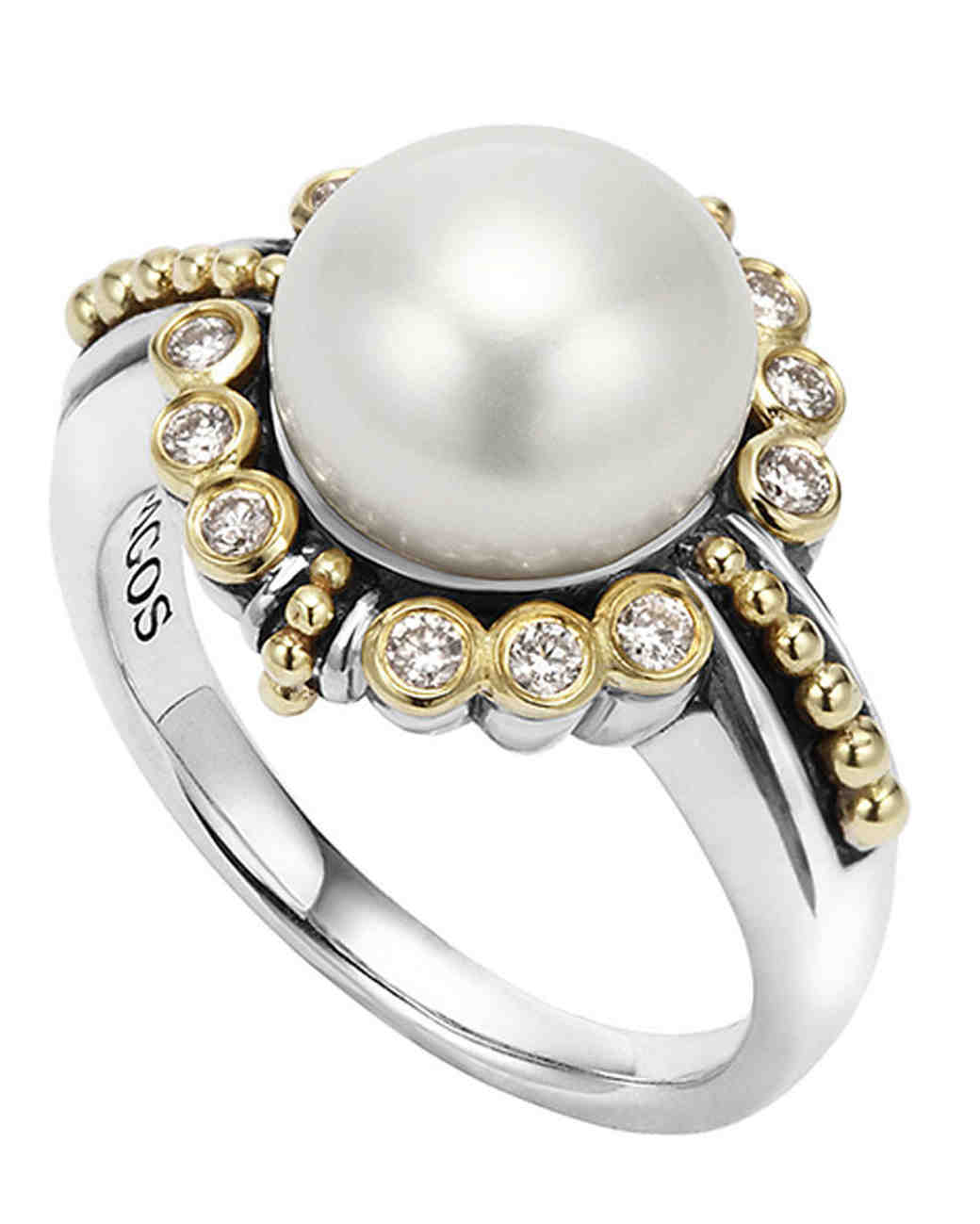 south cultured style white pearl diamond ribbon engagement ring pearls sea gold