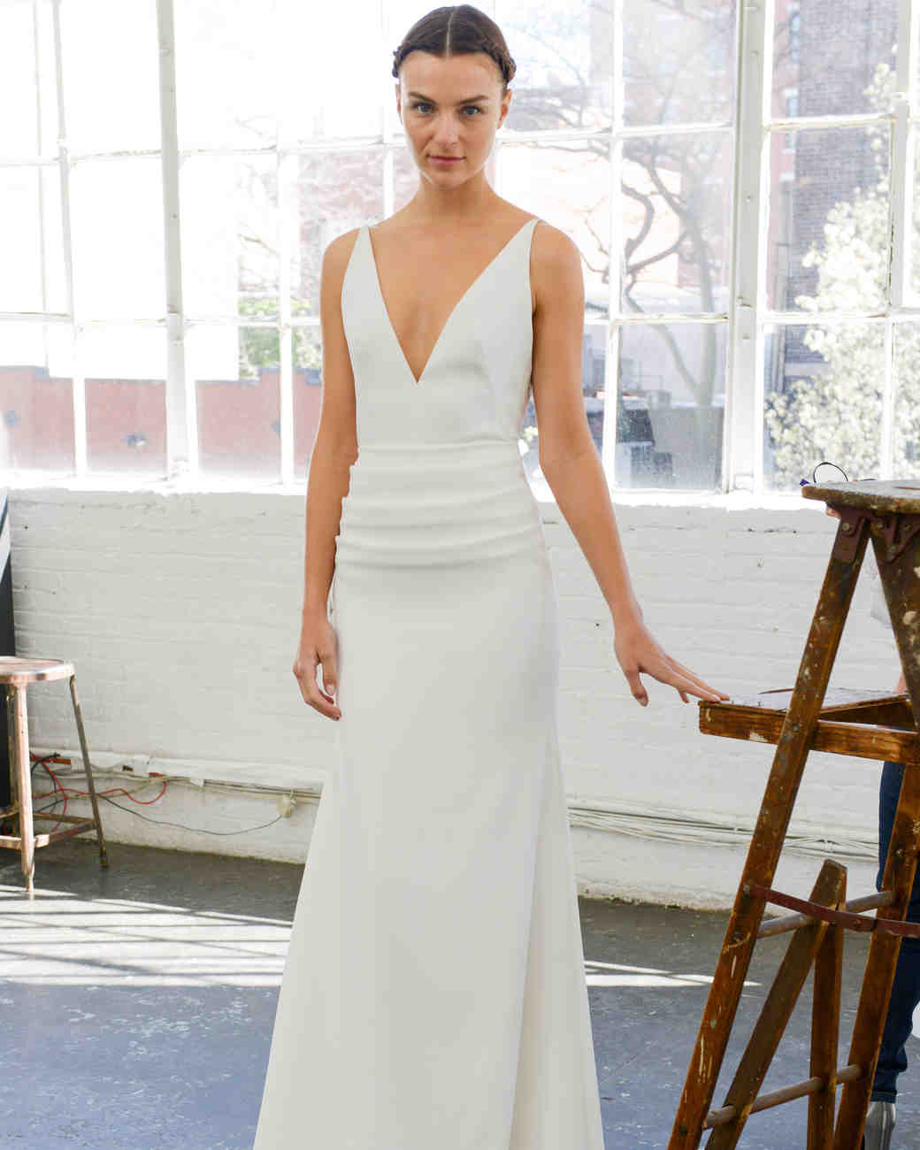 Lela Rose Simple Ruched Wedding Dress