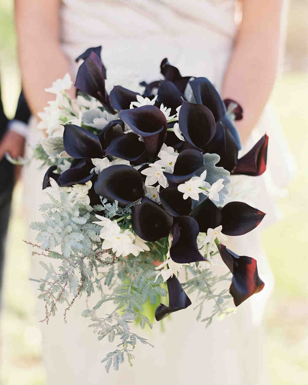 black calla lily wedding bouquet