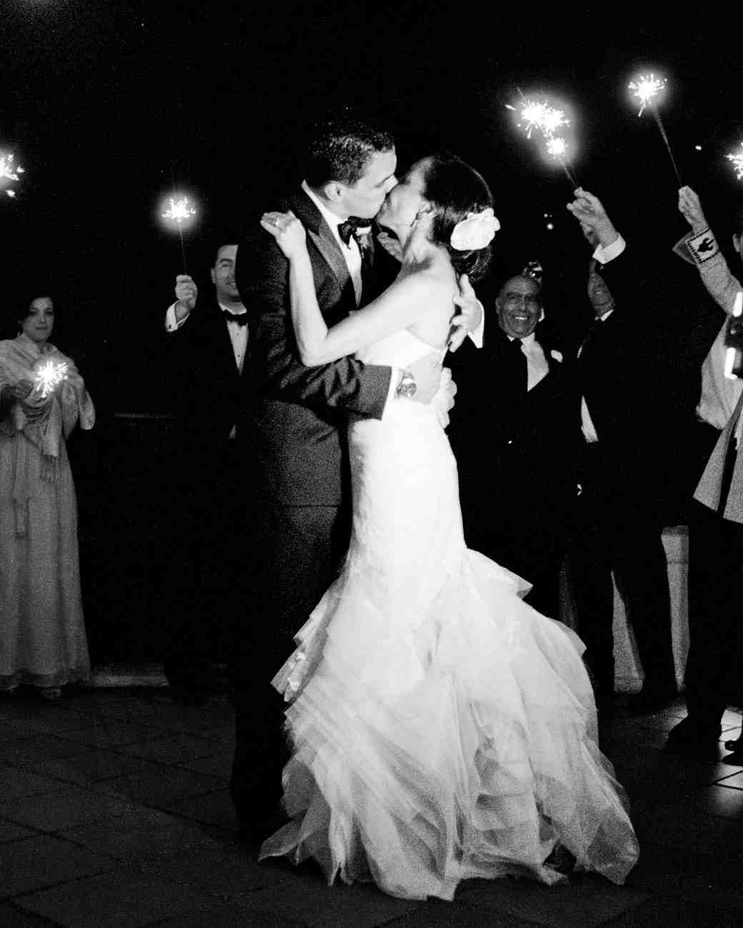 couple dancing by sparklers