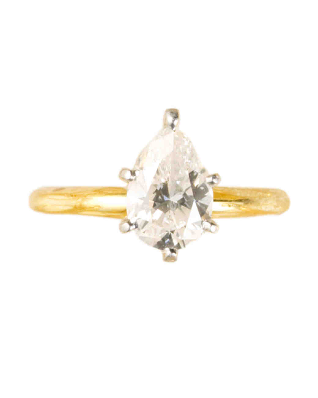 Pear-Cut Diamond Engagement Rings | Martha Stewart Weddings
