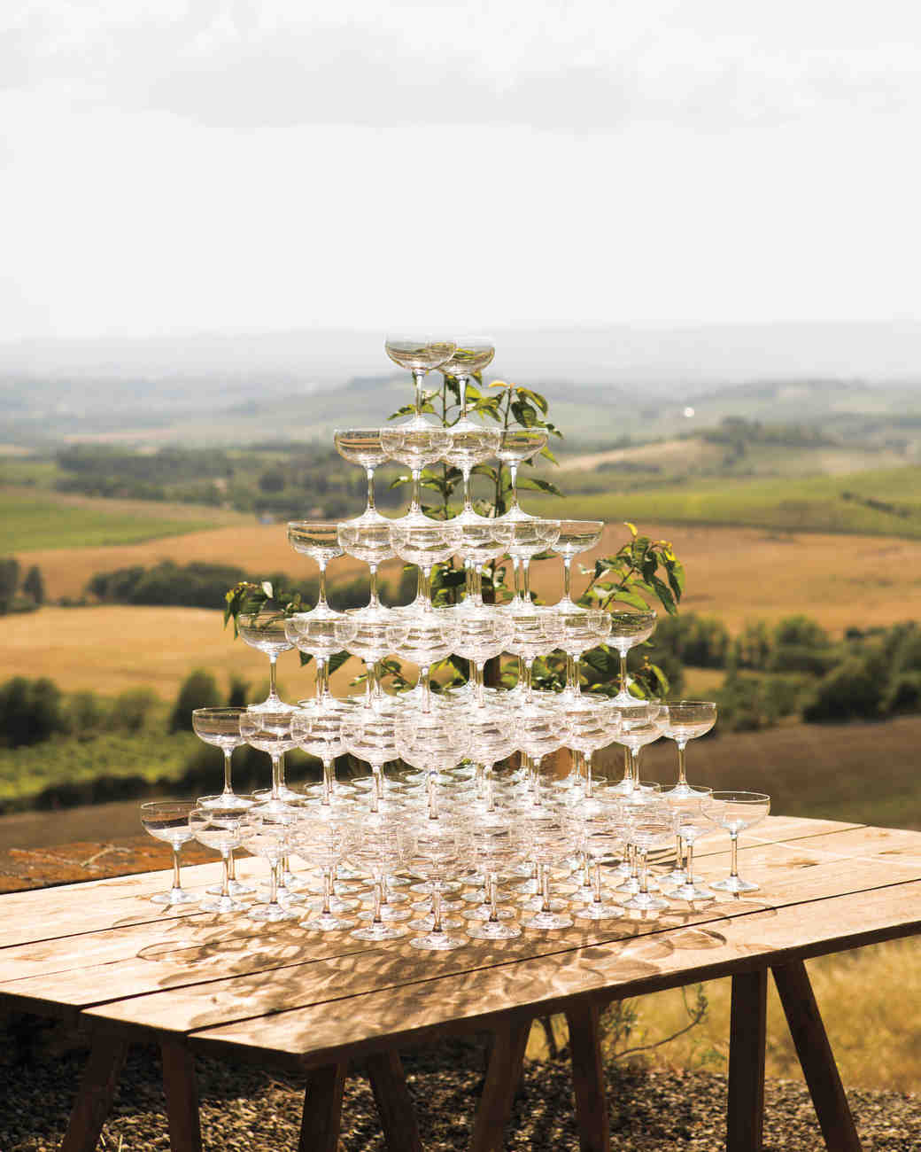 Rustic Champagne Tower