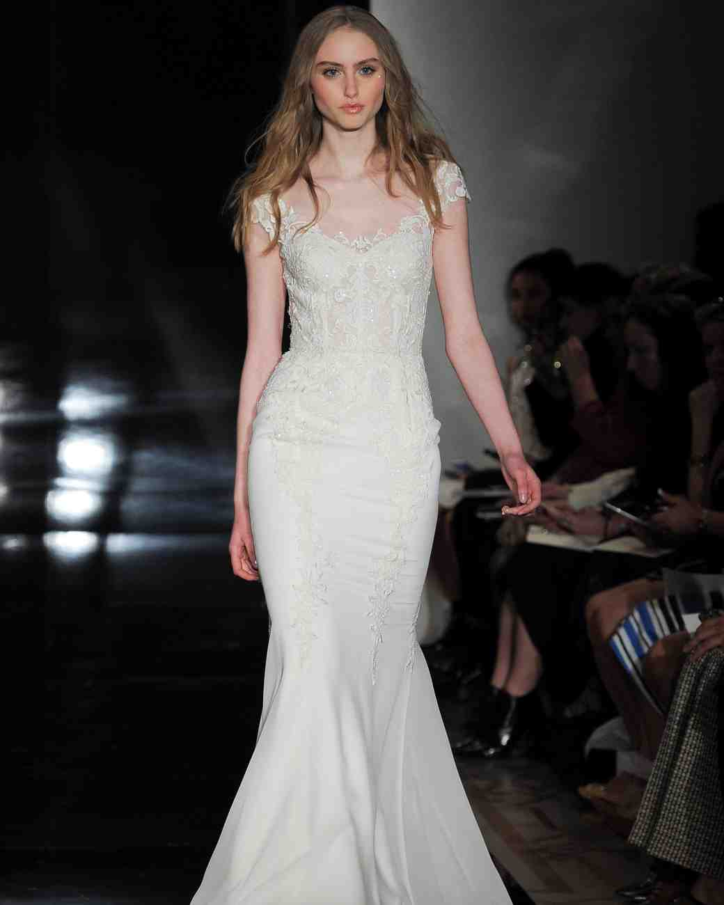 Reem Acra Cap-Sleeved Mermaid Gown