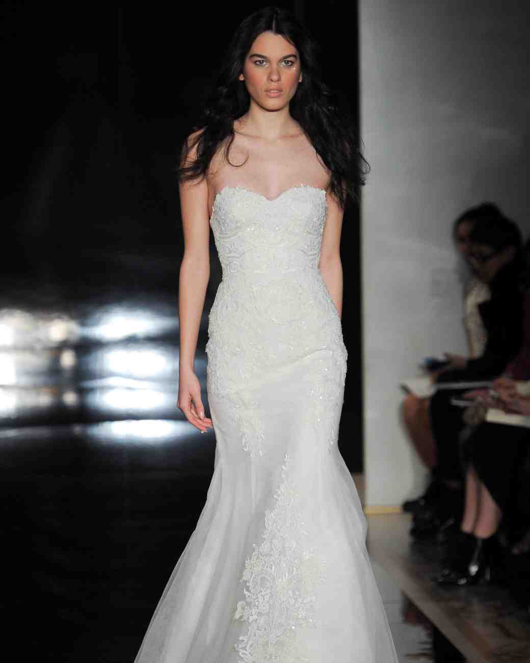 Reem Acra Fit-and-Flare Strapless Gown