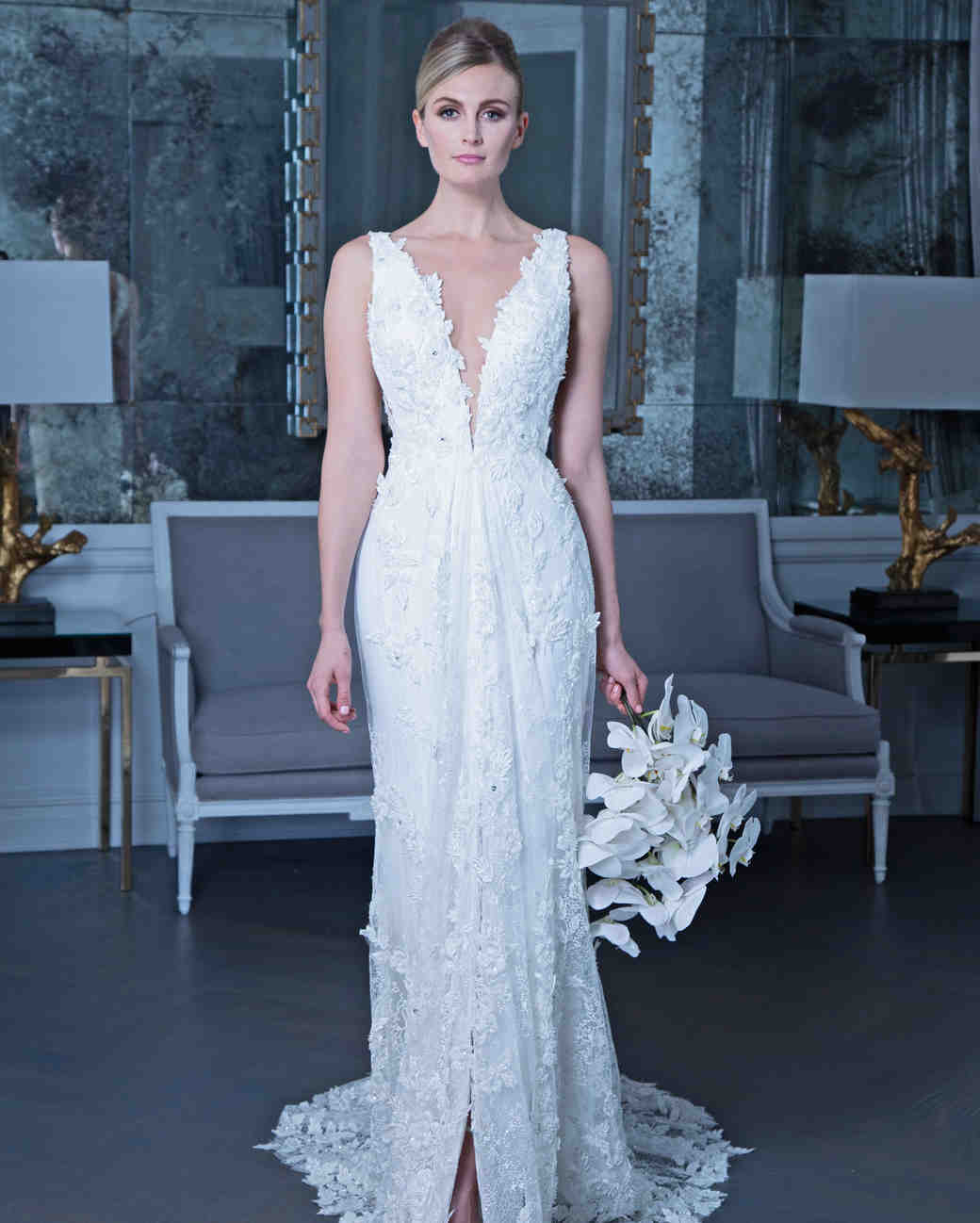 Romona floral applique wedding dress fall 2019