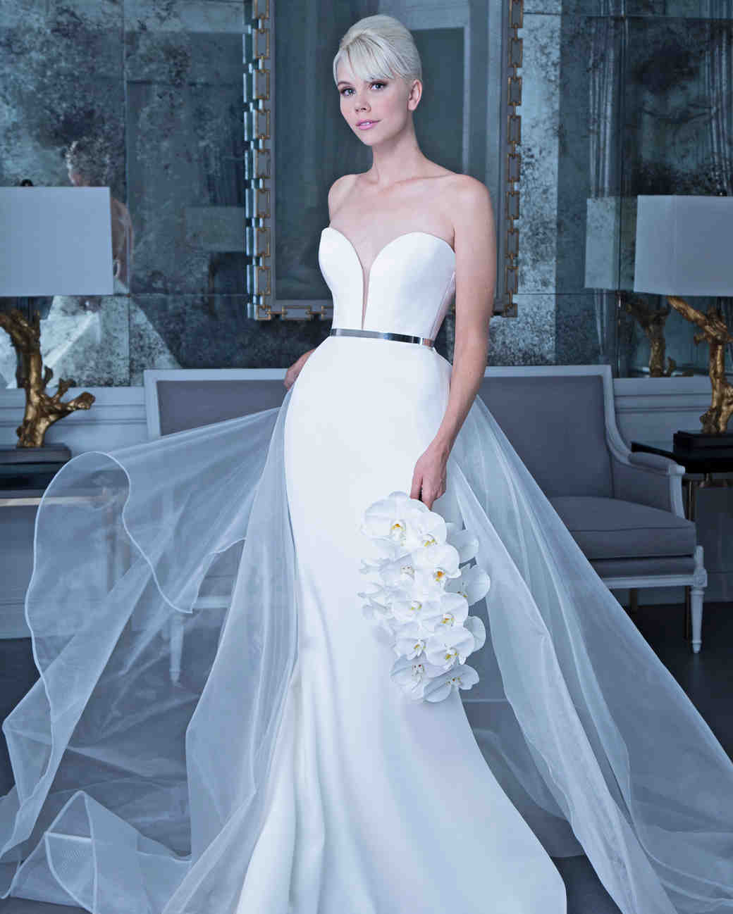 Romona satin wedding dress with tulle fall 2019