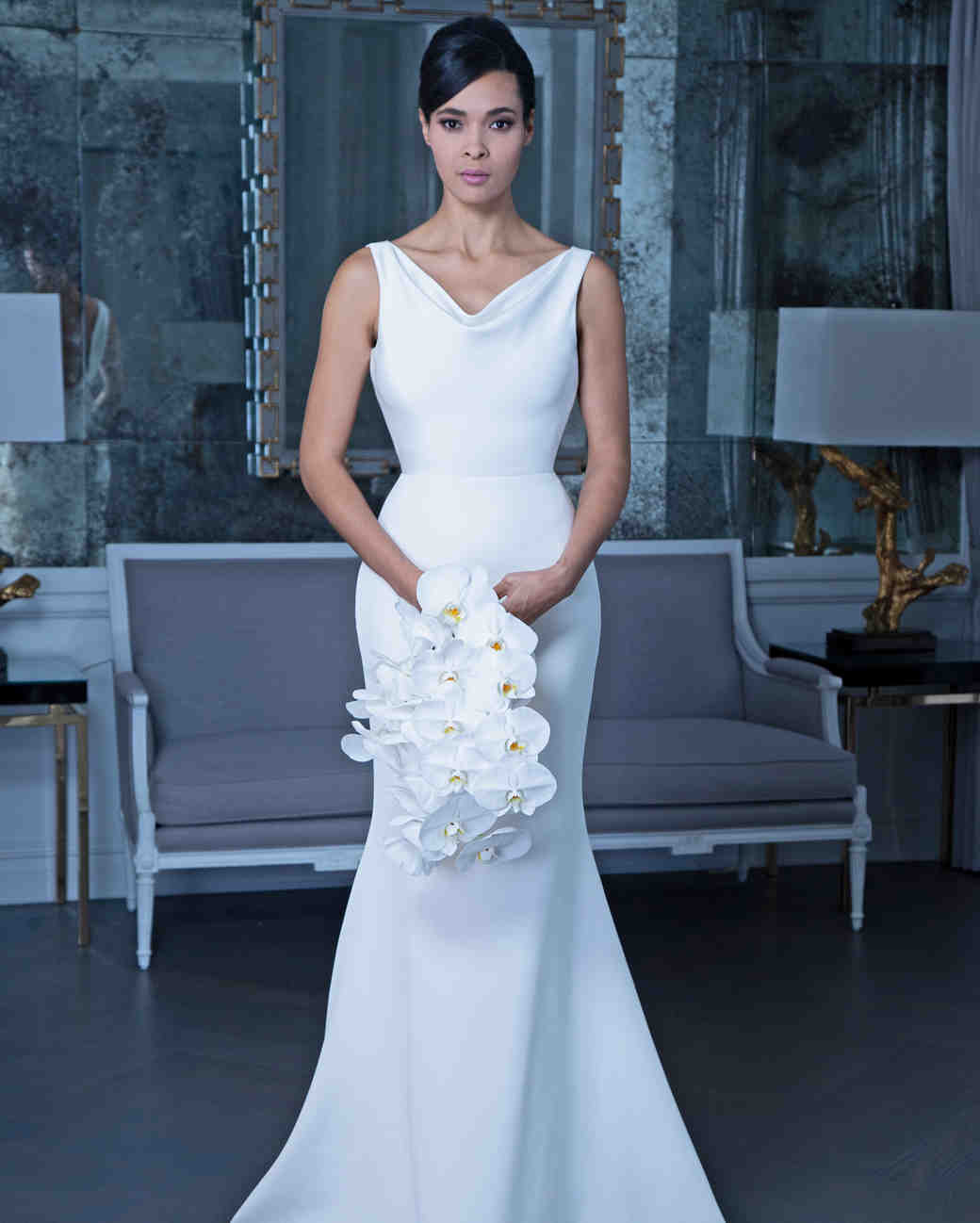 Romona satin trumpet wedding dress fall 2019