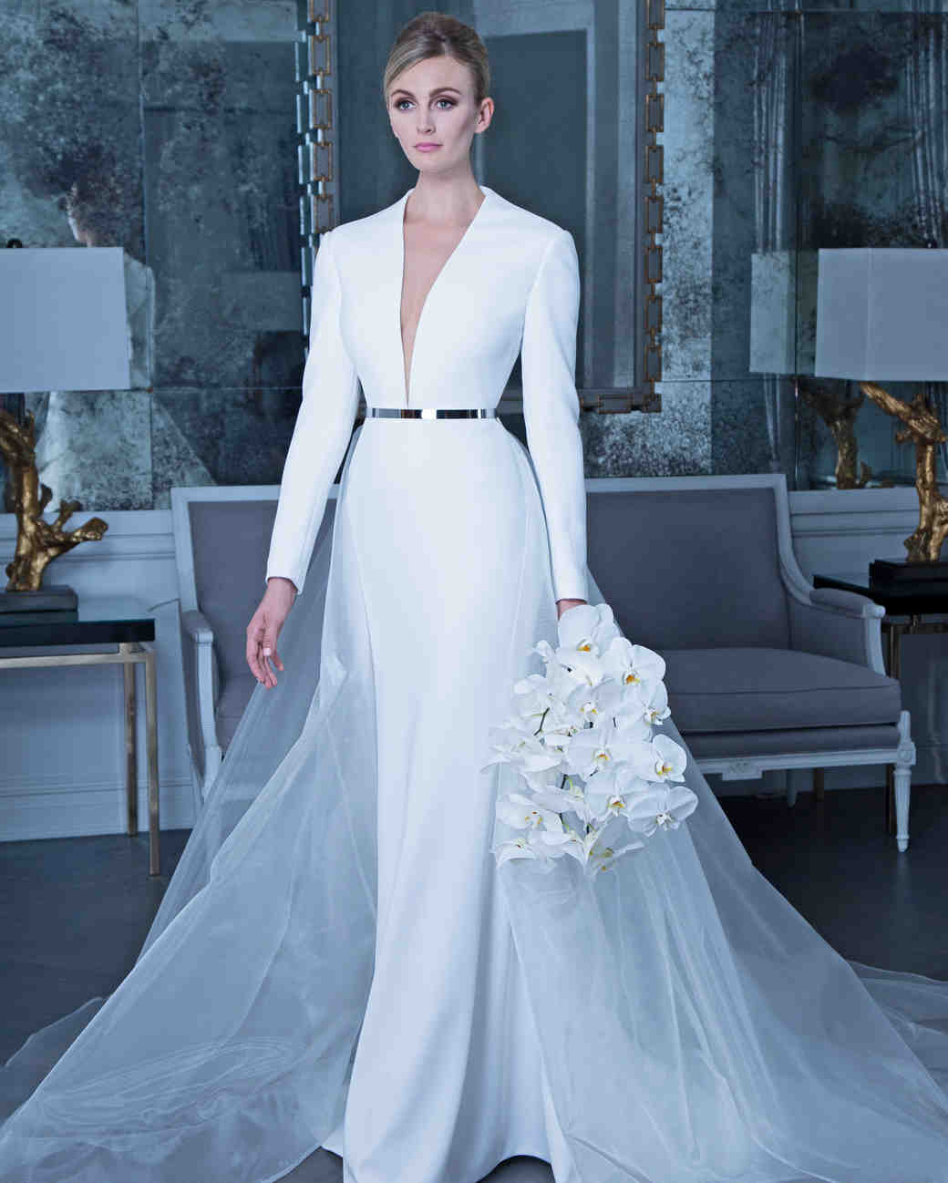 Romona long sleeve wedding dress with belt fall 2019
