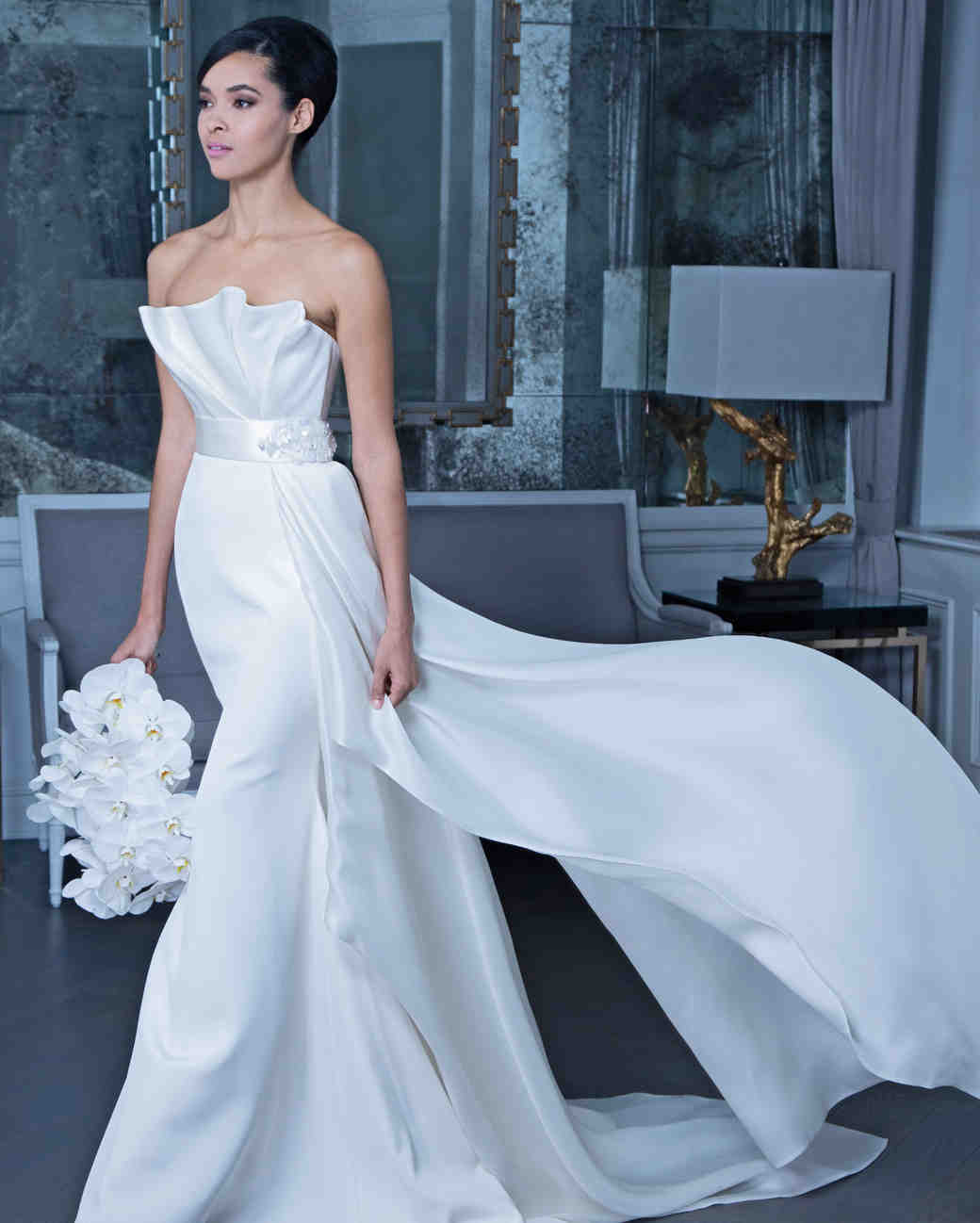 Romona strapless wedding dress with train fall 2019