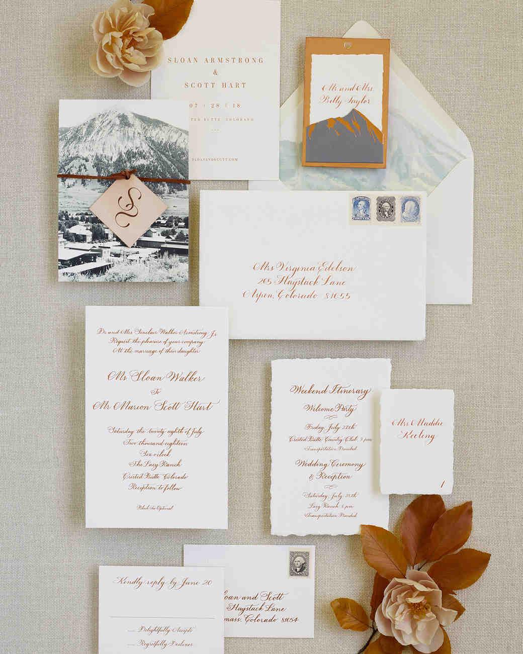 sloan scott wedding rust and teal invitations