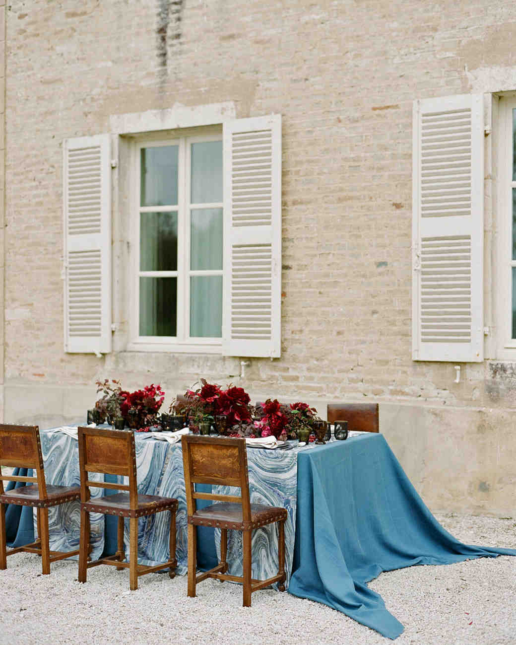 extended cerulean tablecloth marble pattern