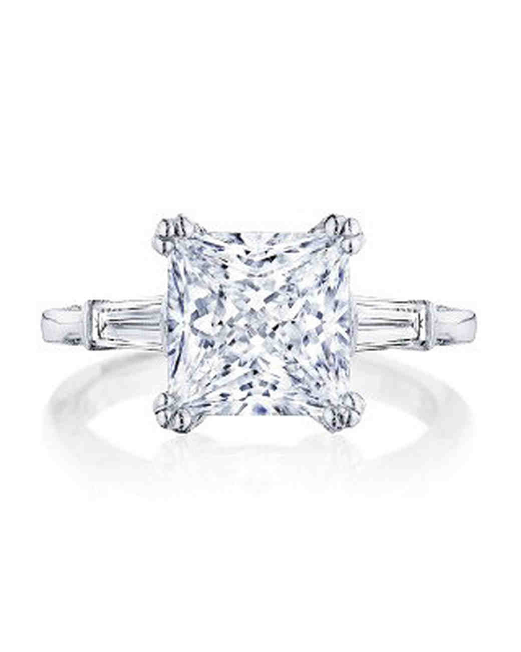square three stone engagement ring