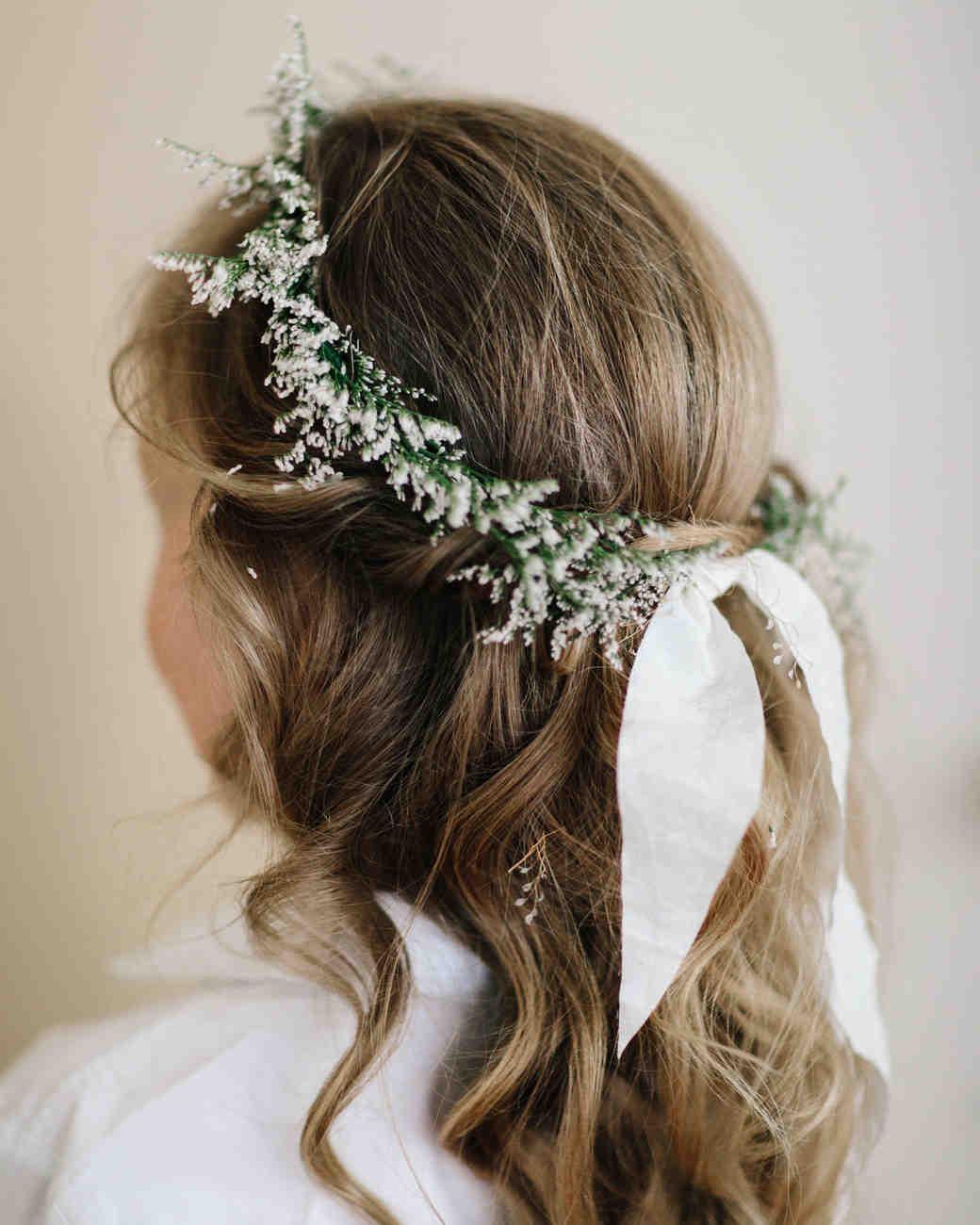 wedding wreath flower crown worn by flower girl