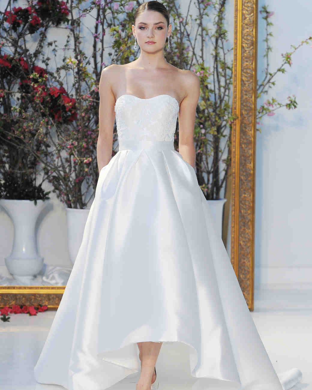 High-Low Strapless Wedding Dress with Pockets
