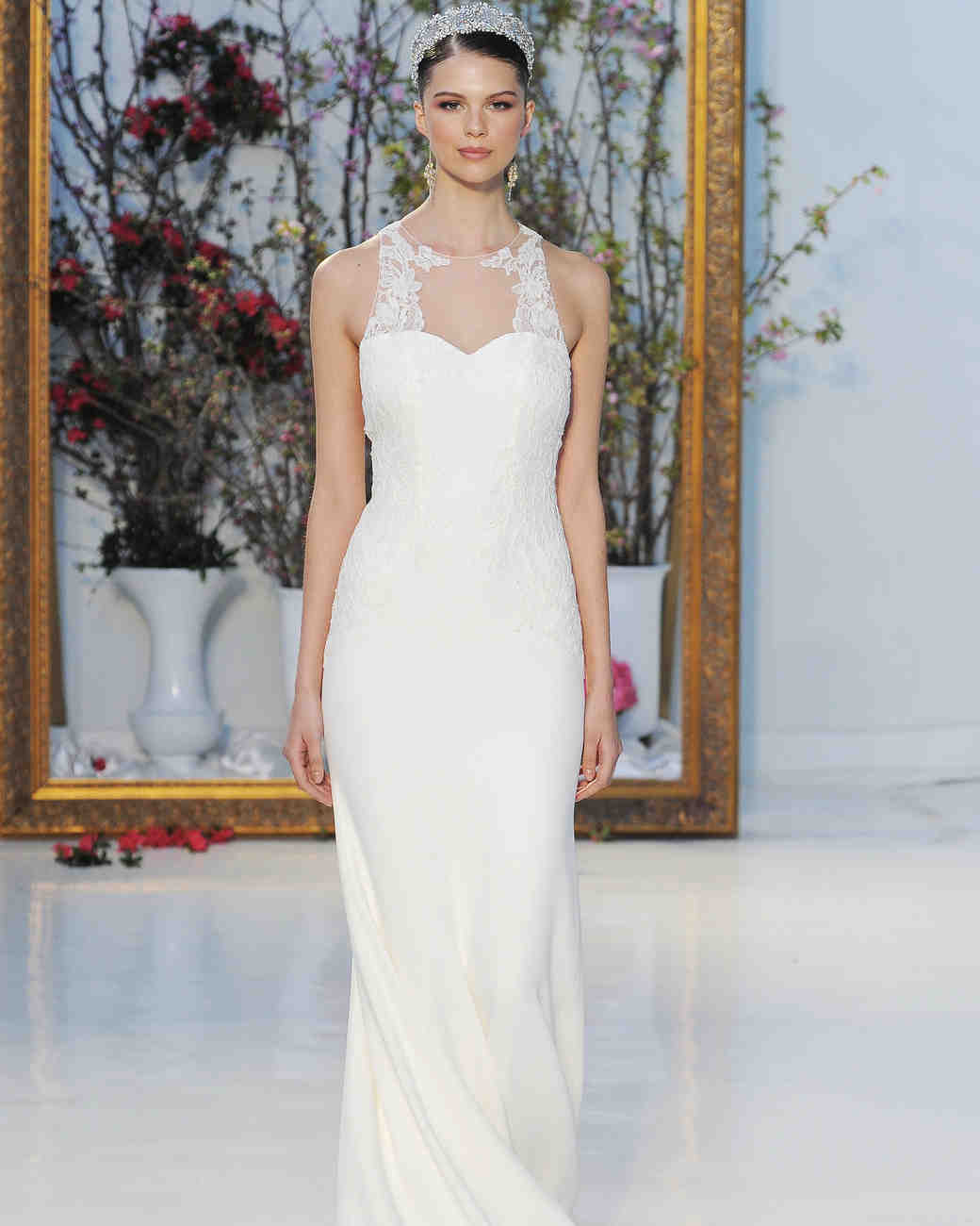 Anne Barge simple sheer four-ply crepe with racer neckline wedding dress