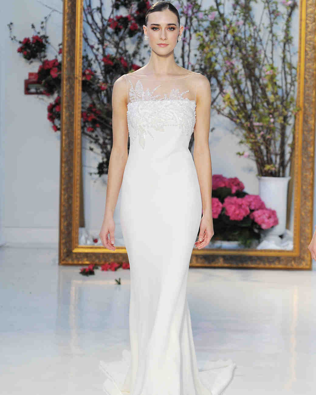 Anne Barge stretch crepe column wedding dress