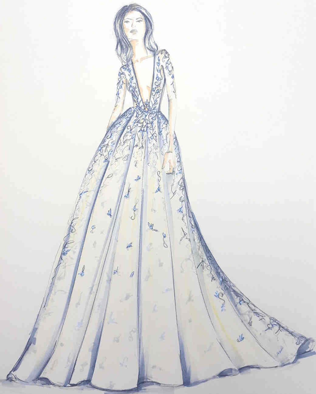 berta wedding dress sketch