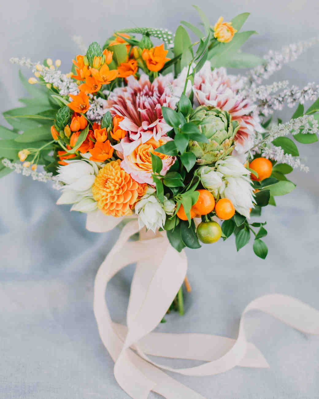 bouquet wraps bright flowers white ribbon
