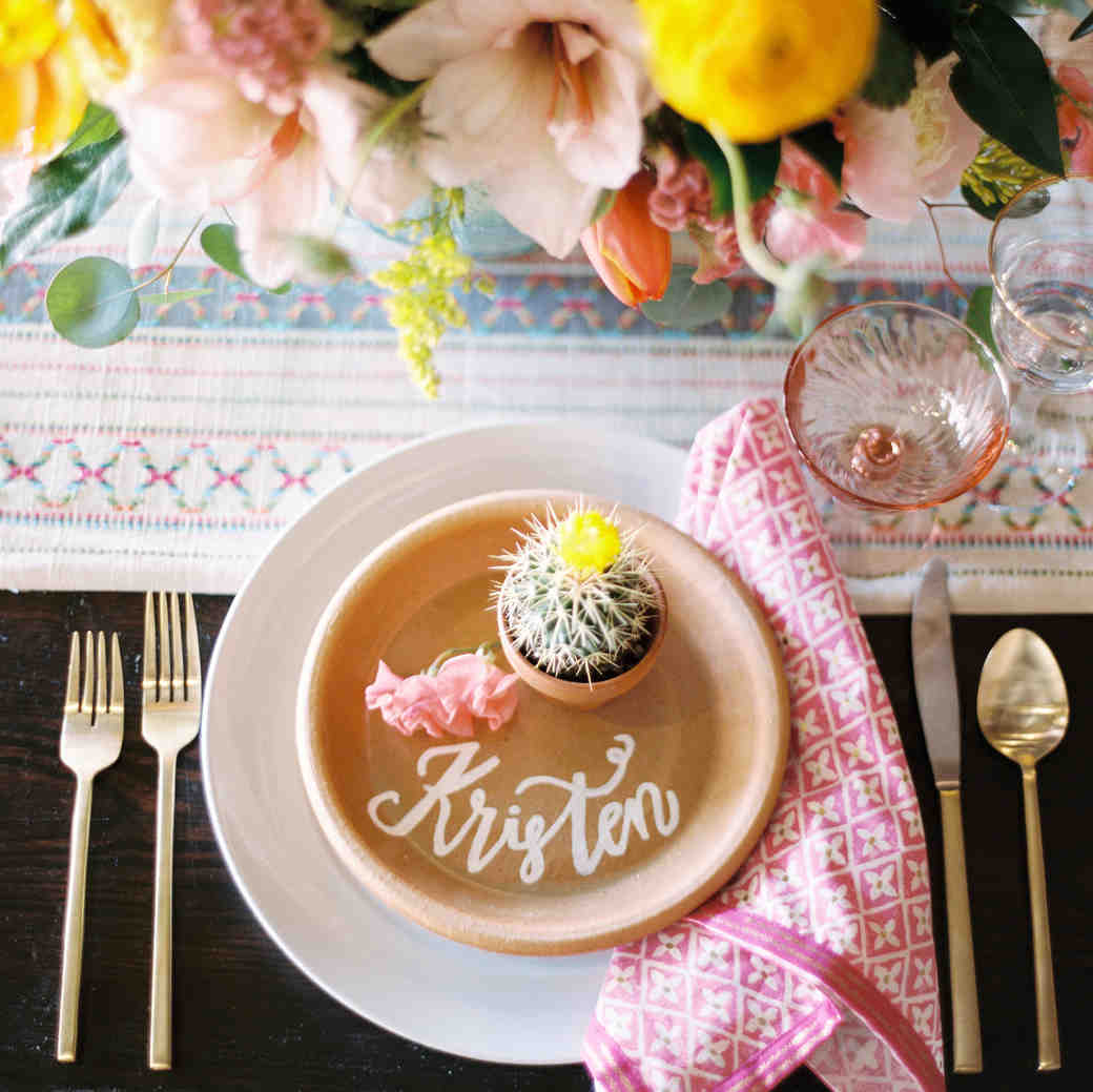 Calligraphed Place Setting with Cactus