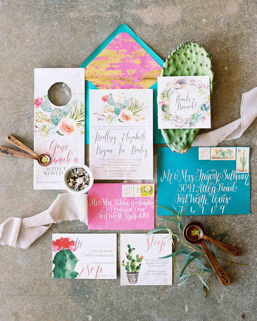Cactus Wedding Invitation Suite