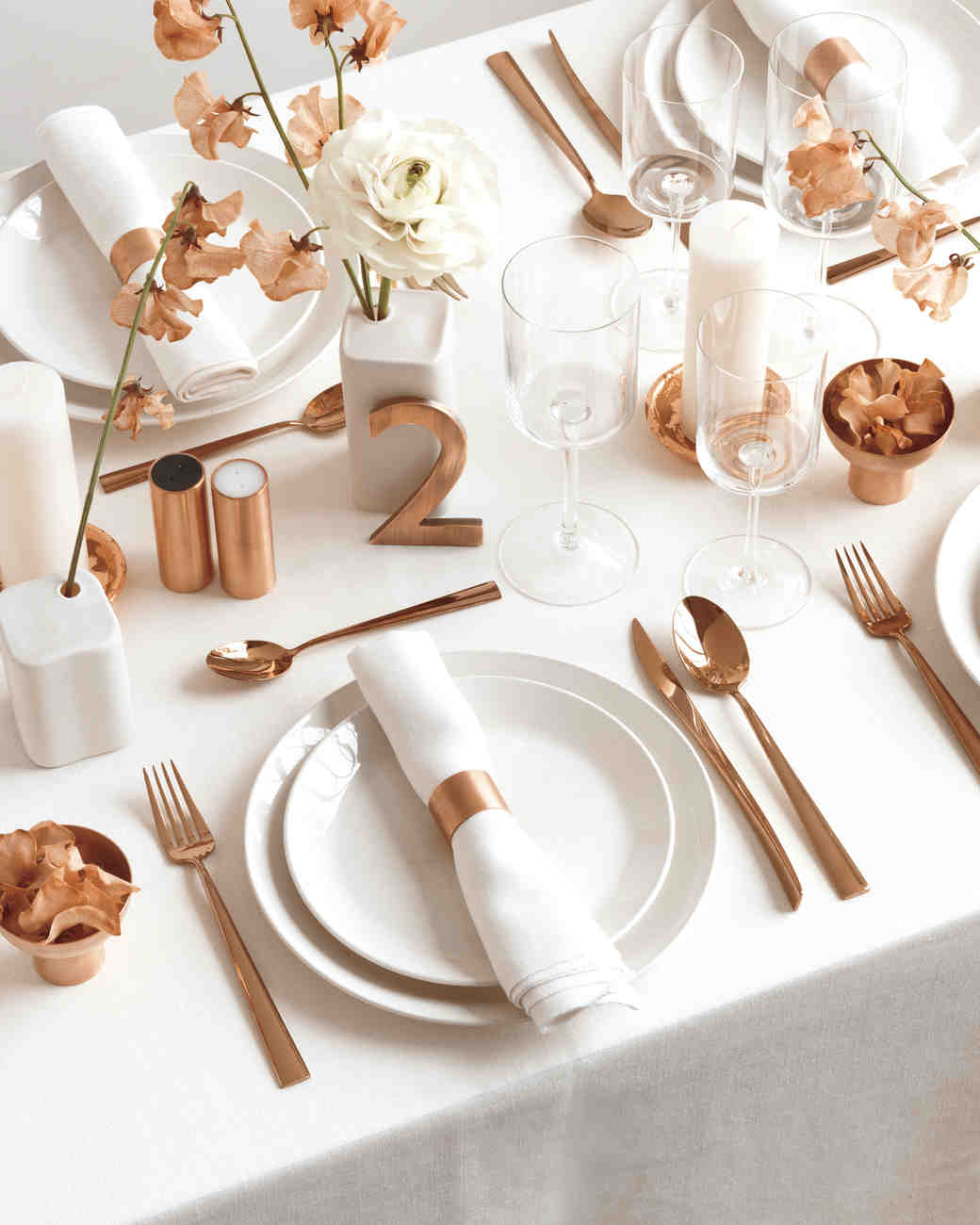 Copper and White Color Palette Ideas to Add Shine to Your  : copper table setting 0025 d111902vert from www.marthastewartweddings.com size 1040 x 1300 jpeg 69kB