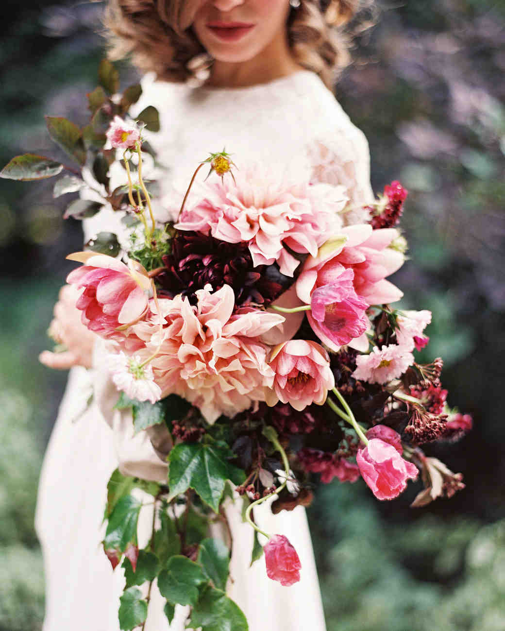 bride dahlia bouquet pink peach flowers