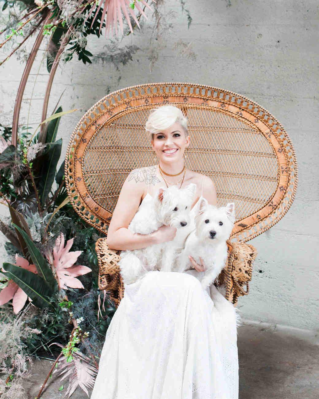 dogs wedding westies bride chair lap