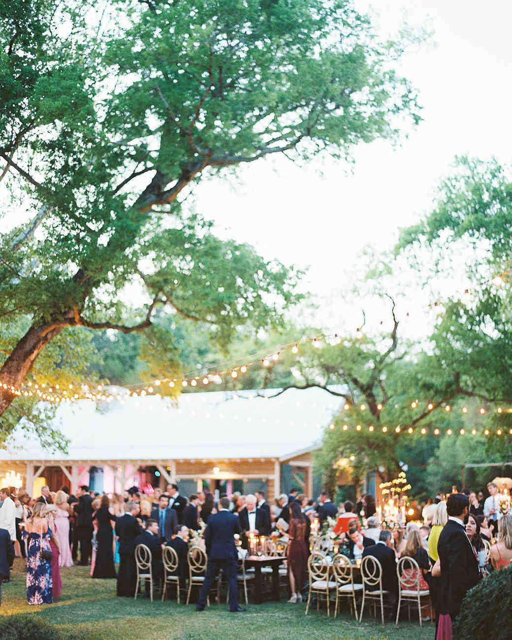 outdoor wedding reception with trees adorned with string lights
