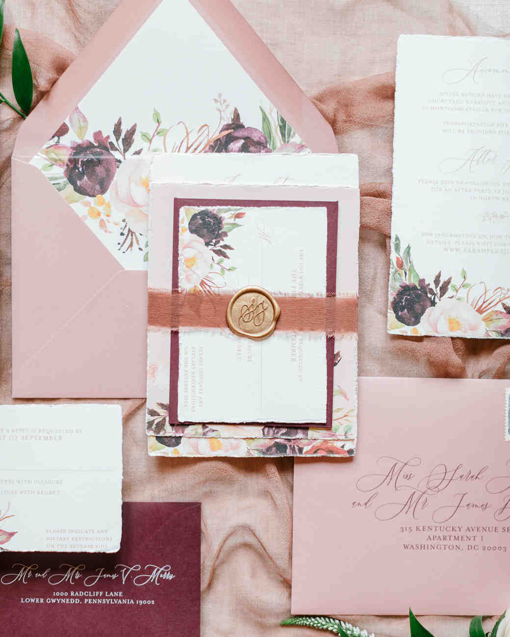 maroon and dusty rose floral invitations