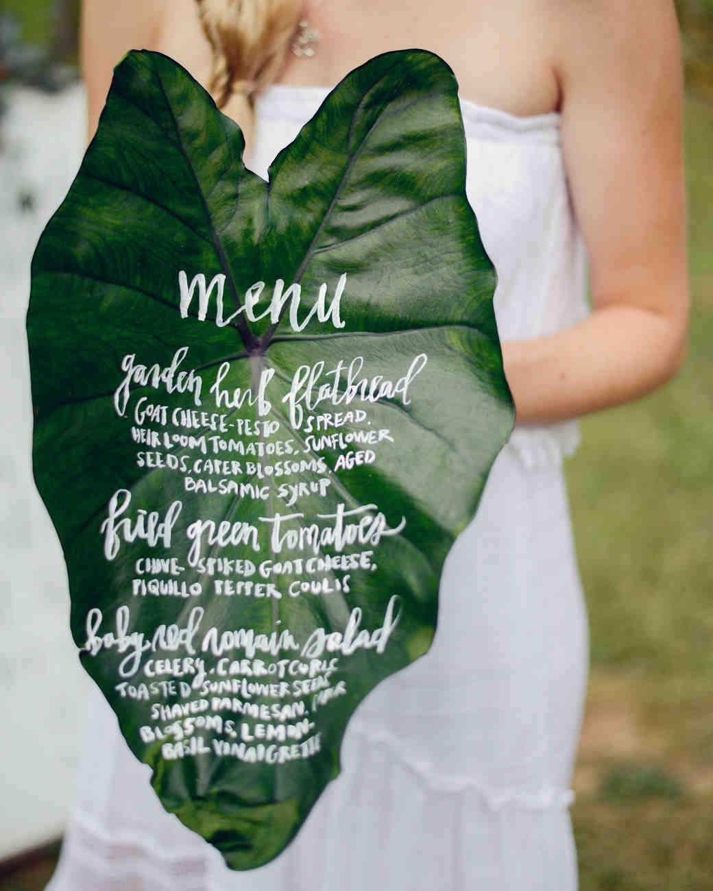 menu on leaf