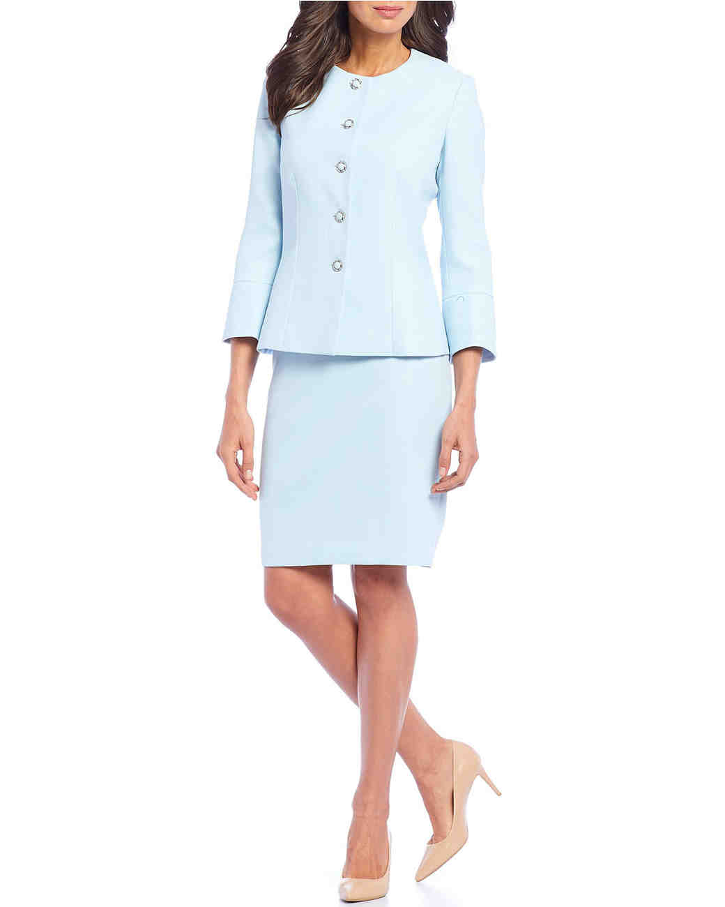 Five-Button Two-Piece Skirt Suit