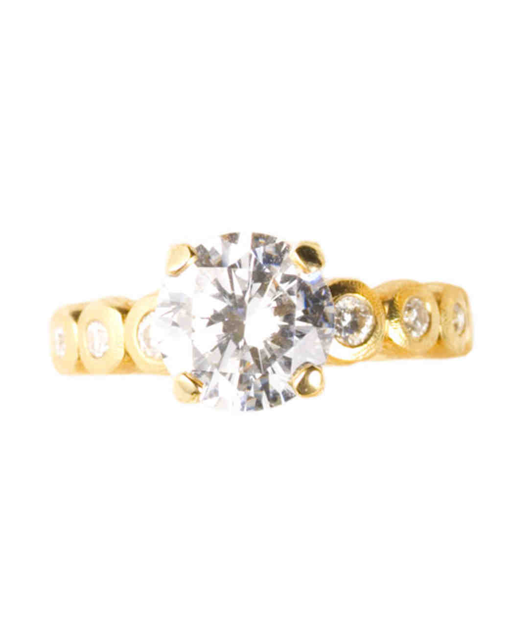 Yellow Gold Engagement Ring with Bezel Band