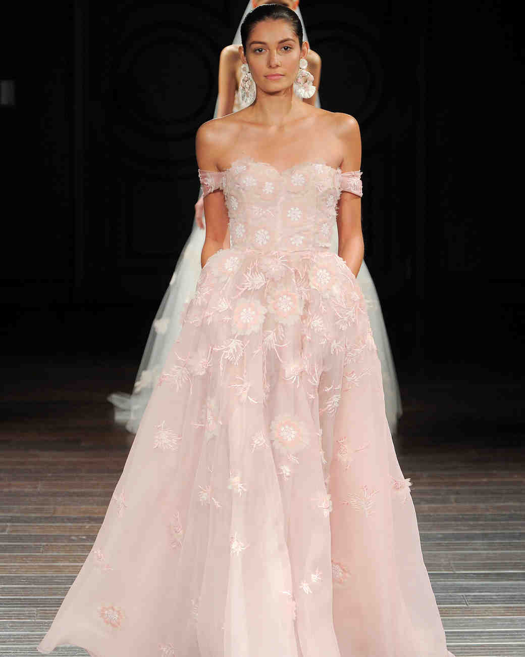 Pink Floral Off-the-Shoulder Wedding Gown with Pockets