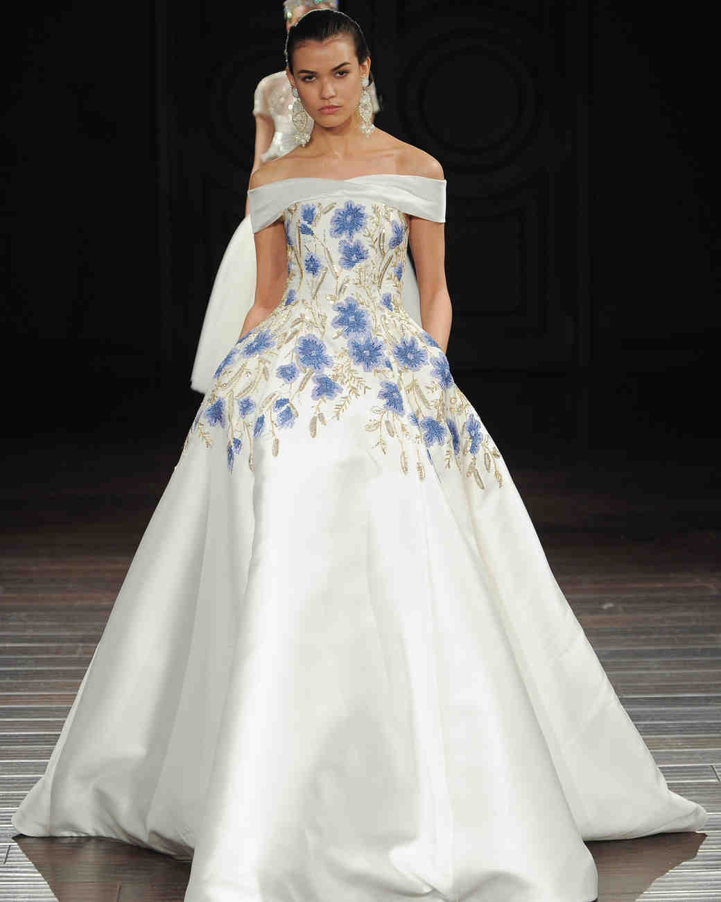 Off-the-Shoulder Wedding Gown with Blue Flowers and Pockets