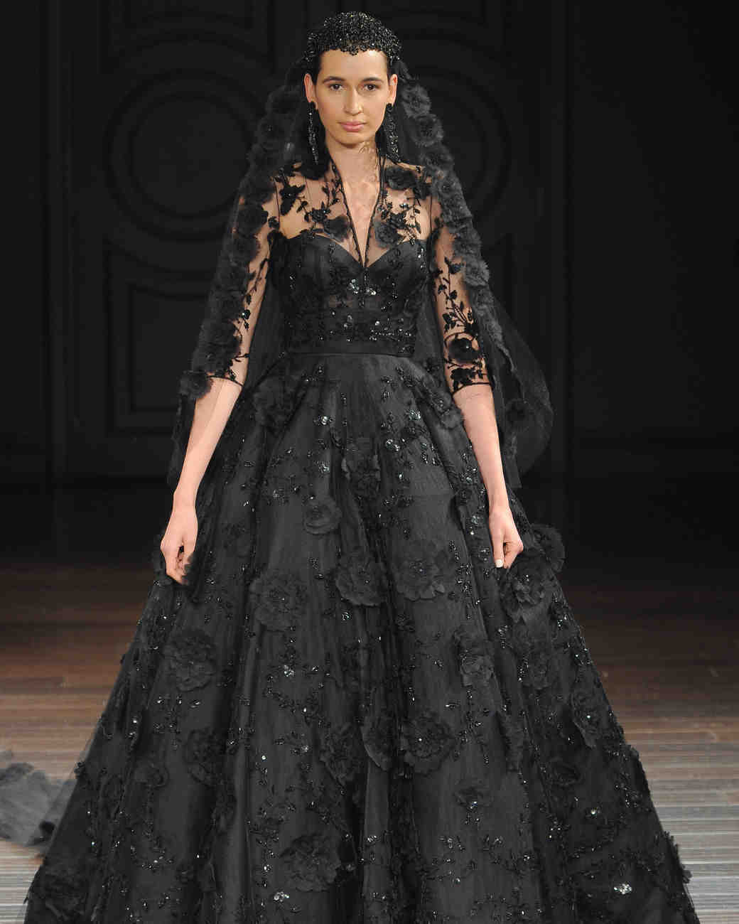 Black Wedding Dresses with Sleeves Anvictorian