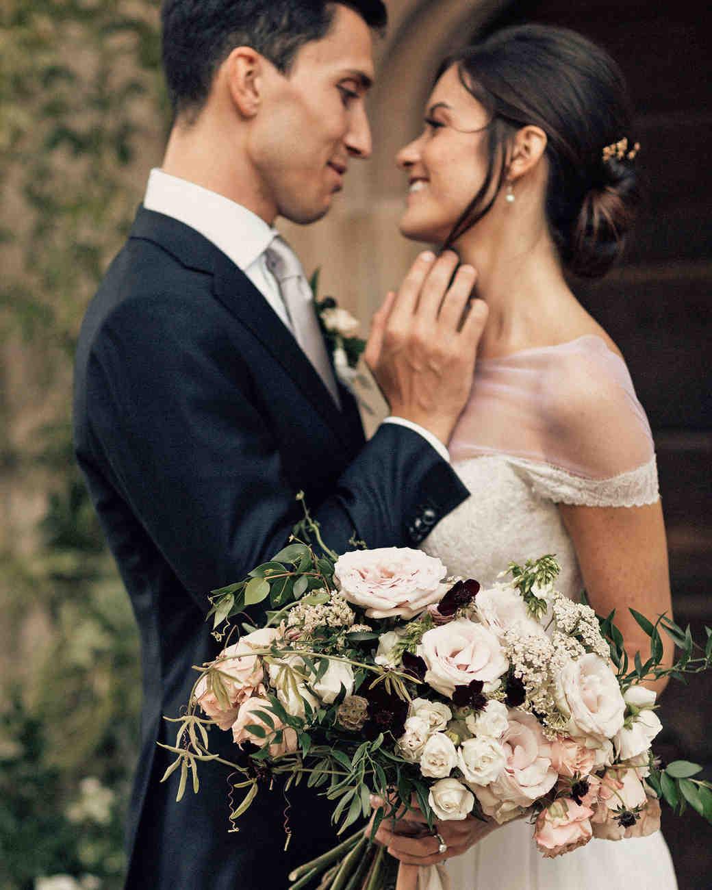 natalie paul bride and groom wedding bouquet