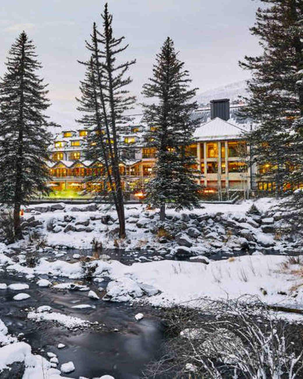 new venue winter scene lodge evergreens