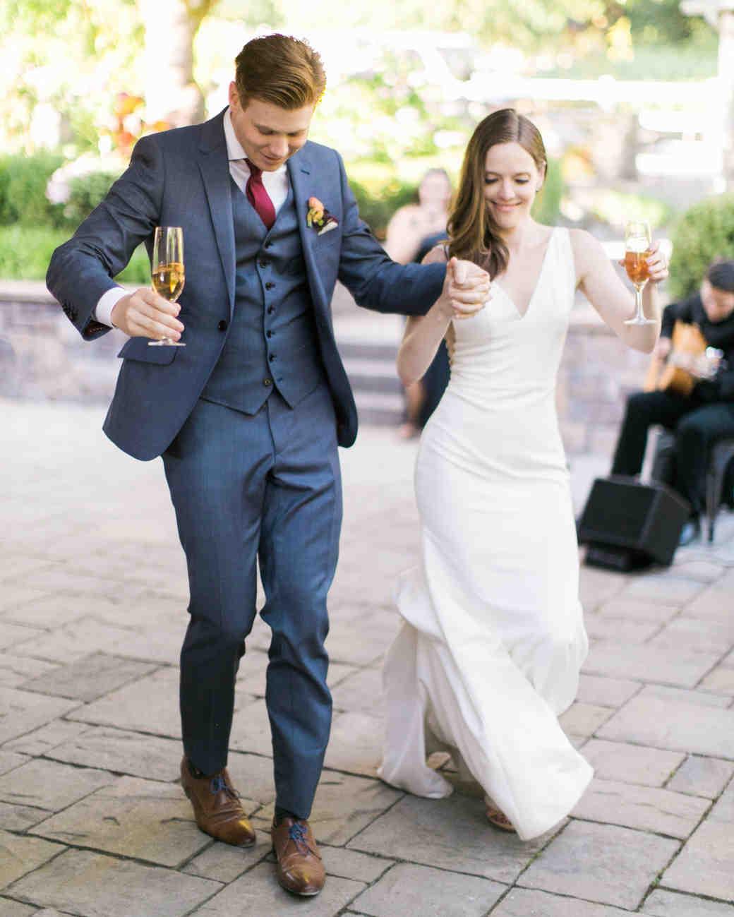 paige matt wedding couple walking