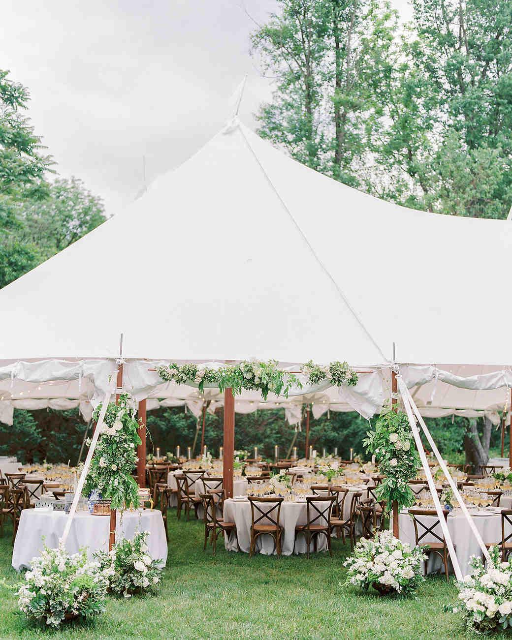 pillar paul wedding tent reception