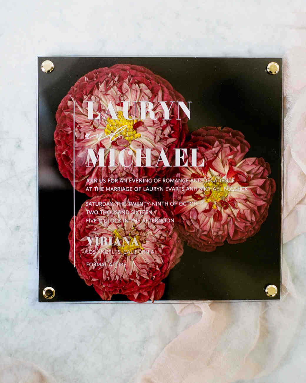 Pressed Floral Wedding Invites