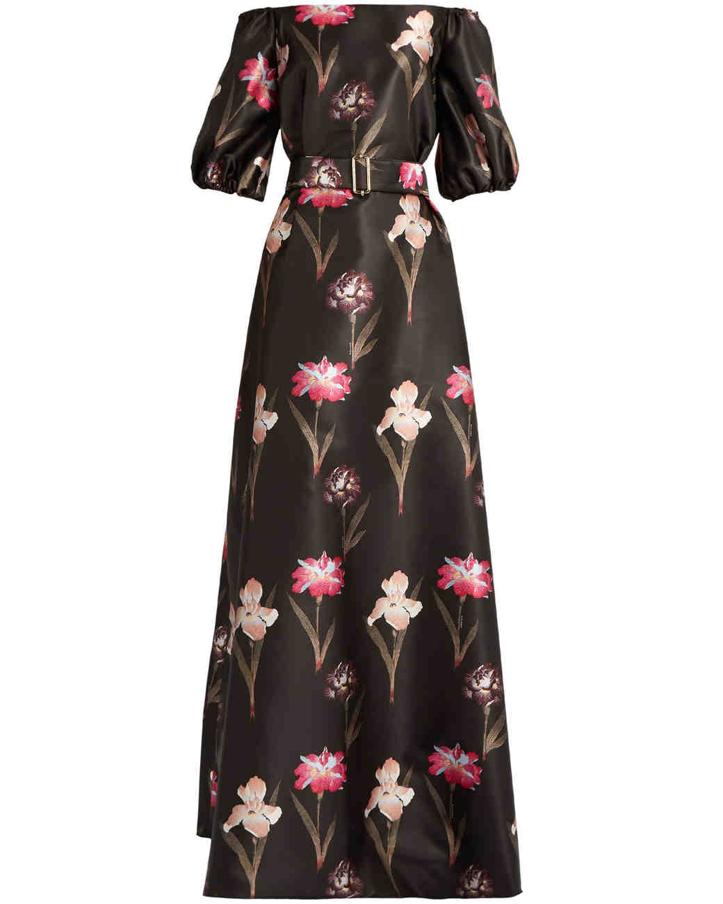 Black Satin Floral Print Gown
