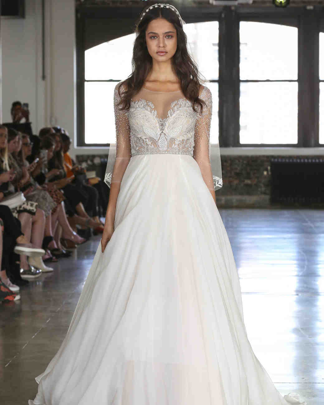 Watters illusion high neckline wedding dress with illusion three-quarter length sleeves fall 2019