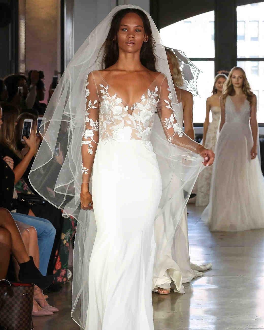 Watters illusion long sleeve wedding dress fall 2019