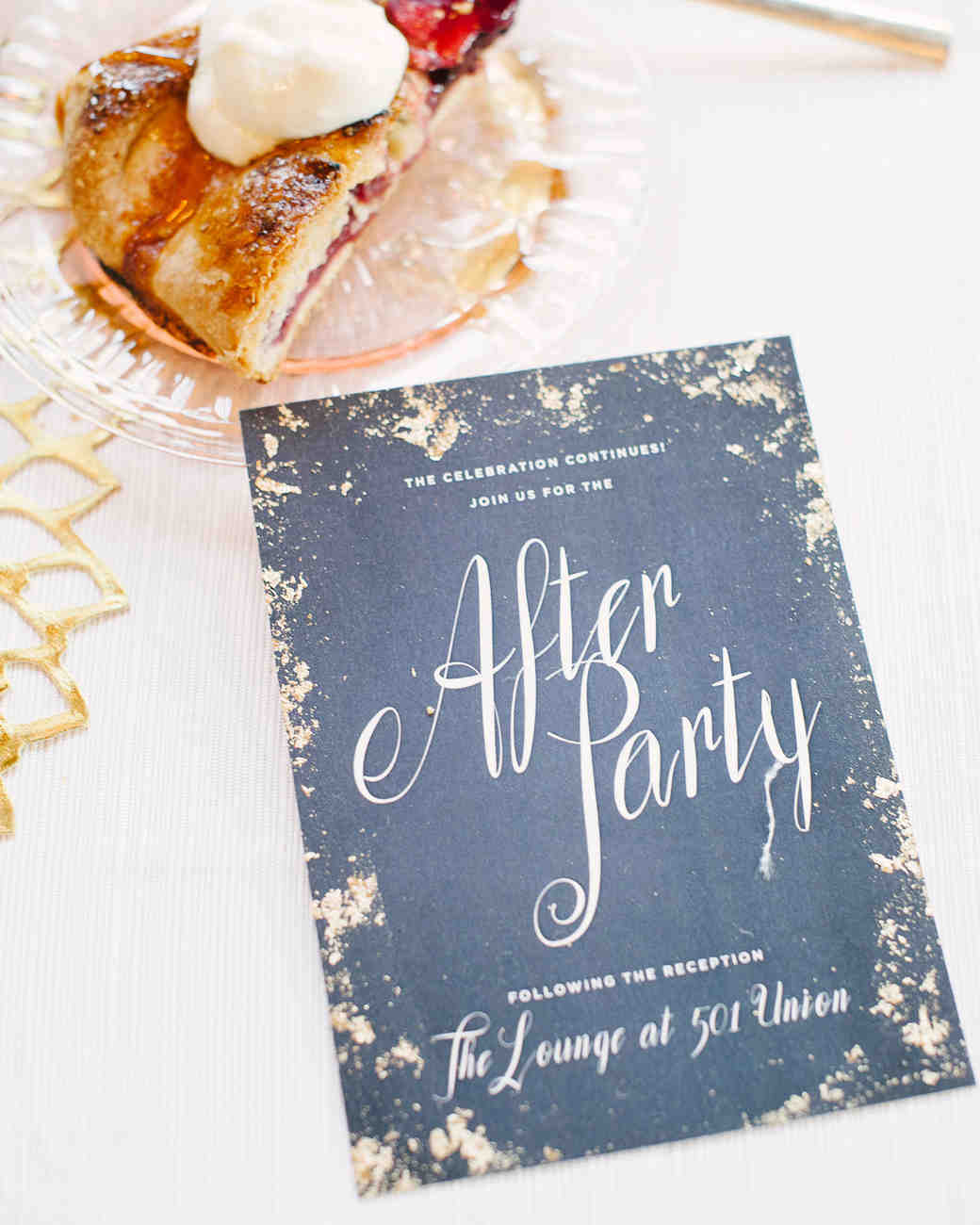 wedding after party invitation and slice of pie