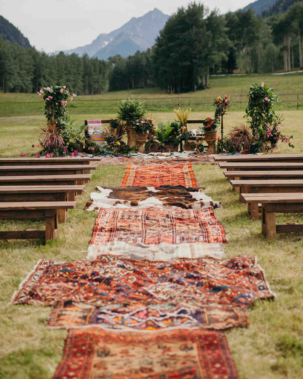 Bohemian Aisle Decor, Layered Rugs