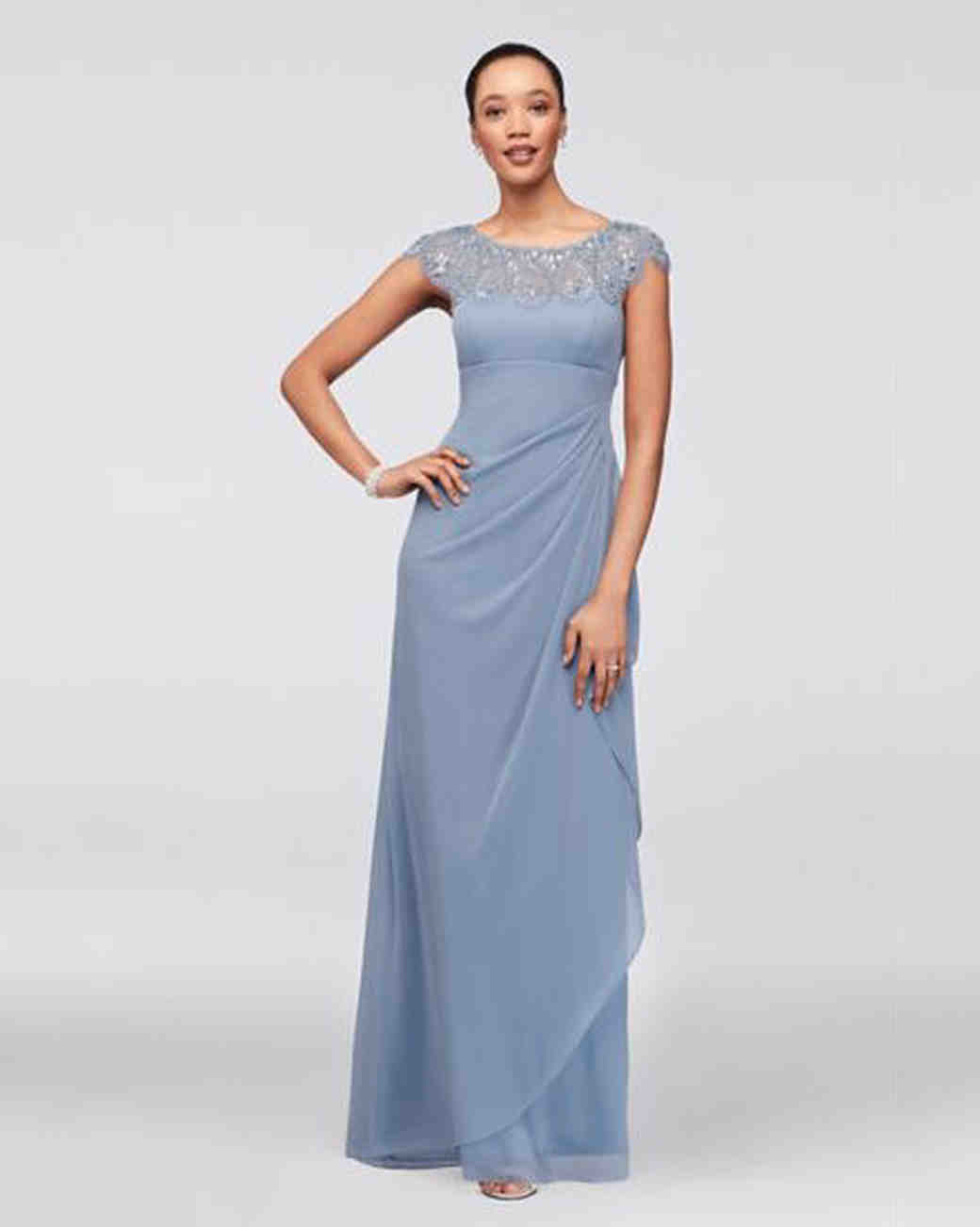 blue cap sleeve gown