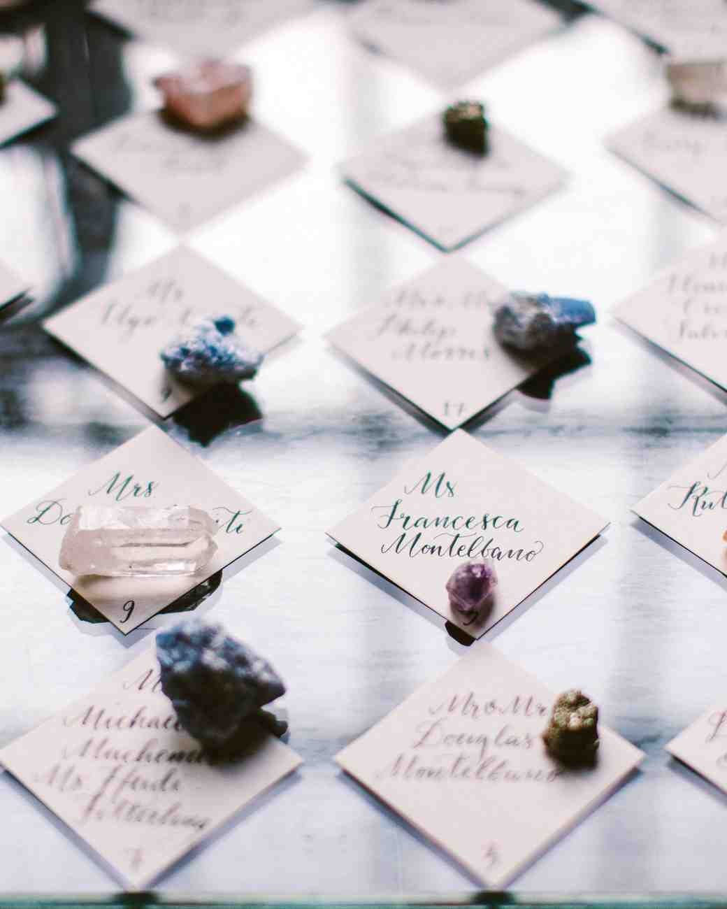 stone and geode place cards