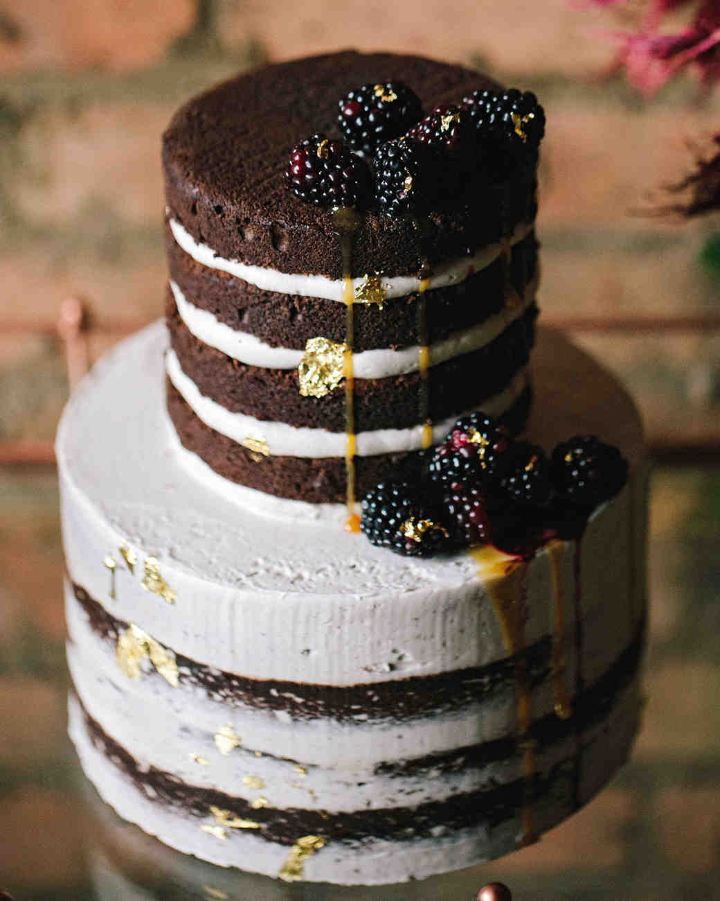 chocolate and white cake with berries