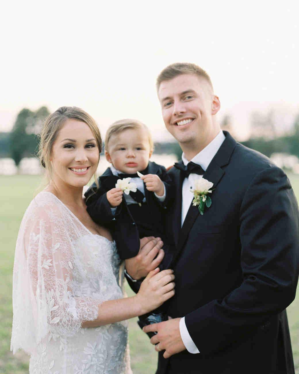 christina matt weddiing couple with son